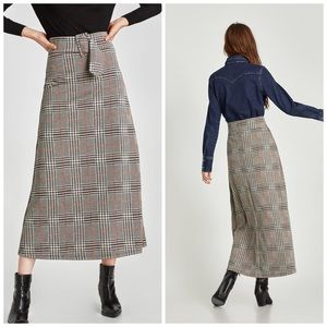 ZARA Plaid Checked Skirt